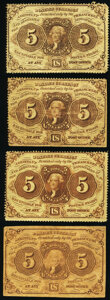 Fr. 1229 5¢ First Issue Three Examples Fine or Better; Fr. 1230 5¢ First Issue Fine-Very Fine