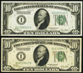 Small Size:Federal Reserve Notes, Fr. 2000-A $10 1928 Federal Reserve Note. Extremely Fine;. Fr. 2001-A $10 1928A Federal Reserve Note. Very Fine.. ... (Total: 2 notes)