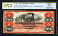 Obsoletes By State:Georgia, Savannah, GA- Central Rail Road & Banking Co. $5 18__ G42a Proof PCGS Banknote Choice Unc 63. ...