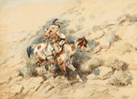 Charles Marion Russell (American, 1864-1926) The Lone Scout, 1898 Watercolor and pencil on paper 10 x 14 inches (25.4