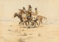Works on Paper, Charles Marion Russell (American, 1864-1926). Scouting Party, 1898. Watercolor and pencil on paper. ...