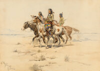 Charles Marion Russell (American, 1864-1926) Scouting Party, 1898 Watercolor and pencil on paper 10 x 14 inches (25.4