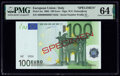 European Union Central Bank, Italy 100 Euro 2002 Pick 5ss Specimen PMG Choice Uncirculated 64 EPQ
