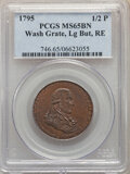 1795 1/2 P Washington Grate Halfpenny, Large Buttons, Reeded Edge, MS65 BN PCGS....(PCGS# 746)