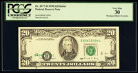 Shifted Black Portion of Third Printing Error Fr. 2077-B $20 1990 Federal Reserve Note. PCGS Very Fine 30