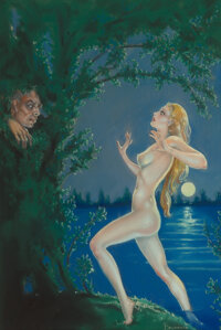 Margaret Brundage (American, 1900-1976) The Blue Woman, Weird Tales magazine cover, September 1935 Pastel on paper 21