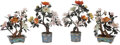 Decorative Accessories, Two Pairs of Chinese Jade Trees on Cloisonné Bases. 15 x 11 x 7 inches (38.1 x 27.9 x 17.8 cm) (tallest). ... (Total: 4 Items)