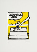 Prints & Multiples, Mark Drew (b. 1978). Guard Your Grill (Naughty by Nature), 2018. Screenprint in colors on wove paper. 16-1/2 x 11-3/4 in...