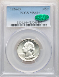 1936-D 25C MS66+ PCGS. CAC. PCGS Population: (154/26 and 28/9+). NGC Census: (63/14 and 8/2+). CDN: $1,000 Whsle. Bid fo...