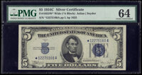 Fr. 1653* $5 1934C Wide Silver Certificate Star. PMG Choice Uncirculated 64