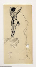 "Original Comic Art:Sketches, Frank Frazetta - ""Cliffhanger"" Sketch Original Art (undated). Tarzan looks ready to take the plunge in this superb sketchboo..."