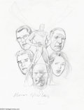Original Comic Art:Sketches, Kevin Nowlan - Superman Family Original Art Sketches (undated).Superman, hands on hips, is surrounded by portraits of Clark...