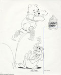 "Original Comic Art:Miscellaneous, Mike Royer - Winnie the Poo and Rabbit Drawing Original AnimationArt (undated). Winnie the Poo springs up to Rabbit's ""hunn..."