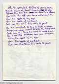 "Music Memorabilia:Ephemera, Badfinger Handwritten Lyrics - Pete Ham - ""Apple of My Eye""...."