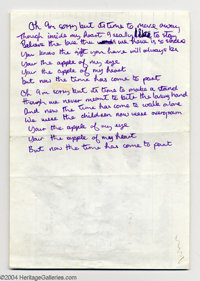 "Badfinger Handwritten Lyrics - Pete Ham - ""Apple of My Eye"". Direct from the hand of ill-fated frontman/songwr..."