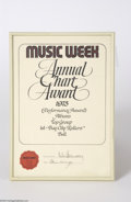 Music Memorabilia:Awards, Bay City Rollers Music Week Award - 1975....