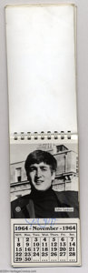 Music Memorabilia:Autographs and Signed Items, The Beatles: Vintage Signed 1964 Pocket Calendar....