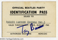 The Beatles: Official Crew ID Pass for August 1965 Tour! A choice gem for the Beatle concert memorabilia collector, pres...