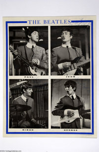 The Beatles: Vintage Signed UK Prototype Poster (1963). Original 1963 English prototype poster, 17.25 x 22, featuring a...