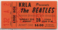 Music Memorabilia:Ephemera, The Beatles: Original Concert Ticket Dodger Stadium - 8-28-1966 (Orange)....