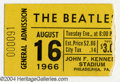 Music Memorabilia:Ephemera, The Beatles: Original Ticket - August 16, 1966 - JFK Stadium....