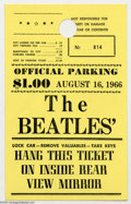 Music Memorabilia:Ephemera, The Beatles: Original Parking Pass - 8-16-66, JFK Stadium....