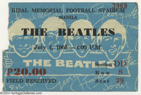 The Beatles Concert Ticket - 7/4/1966 - Manila. One of the rarest specimens of Beatles concert ticket, offered here is a...