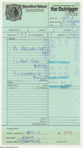 Music Memorabilia:Autographs and Signed Items, The Beatles: George Harrison Signed Receipt from Australia....