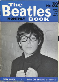 "Original Beatles Monthly Book with George Harrison Signed Poster - March 1966. Original fan magazine, ""The Beatles..."