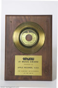 Music Memorabilia:Awards, The Beatles: Original Radio Station Award for John Lennon Presented to Apple Records (1974)....