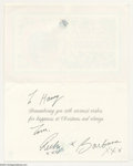 Music Memorabilia:Autographs and Signed Items, The Beatles: Ringo Starr & Barbara Bach Signed ChristmasCard....