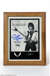 The Cars: Elliot Easton Signed Magazine Page. 8 x 10 magazine page featuring Easton in a publicity pose for Dean guitars...
