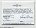 Music Memorabilia:Autographs and Signed Items, Harry Chapin Signed Document (1980)....