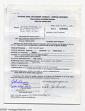 Music Memorabilia:Autographs and Signed Items, John Denver Early Signed Document - July 19, 1973....