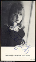 Music Memorabilia:Autographs and Signed Items, Marianne Faithfull Vintage Signed Photo....