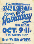 Music Memorabilia:Autographs and Signed Items, Donny Hathaway Signed Handbill....