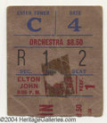 Music Memorabilia:Ephemera, Elton John Concert Ticket - 11/28/74 - Madison Square Garden with John Lennon!... (2 Items)