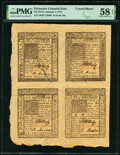 Colonial Notes:Delaware, Delaware January 1, 1776 5s-6s-4s-10s Uncut Sheet PMG Choice About Unc 58 EPQ.. ...