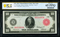 Fr. 893b $10 1914 Red Seal Federal Reserve Note PCGS Banknote Gem Unc 65 PPQ