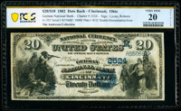 Cincinnati, OH - $20/$10 Double Denomination 1882 Date Back Fr. 555 The German National Bank Ch. # (M)2524 PCGS Bankno...