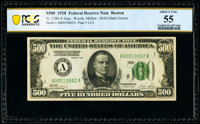 Fr. 2200-A $500 1928 Federal Reserve Note. PCGS Banknote About Unc 55