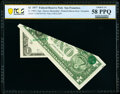 Printed Foldover Error with Overprint Fr. 1909-L $1 1977 Federal Reserve Note. PCGS Banknote Choice AU 58 PPQ