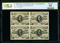 Fr. 1238 5¢ Third Issue Uncut Block of Four PCGS Banknote About Unc 55