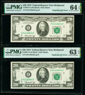 Error Notes:Miscellaneous Errors, Duplicate Serial Number Error Fr. 2071-E $20 1974 Federal Reserve Notes PMG Choice Uncirculated 64 EPQ; Choice Uncirculated 63... (Total: 2 notes)