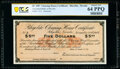 Obsoletes By State:Nevada, Rhyolite, NV- Rhyolite Clearing House Certificate $5 Nov. 30, 1907 Remainder PCGS Banknote Choice Unc 64 PPQ.. ...