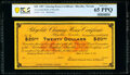 Obsoletes By State:Nevada, Rhyolite, NV- Rhyolite Clearing House Certificate $20 Nov. 30, 1907 Remainder PCGS Banknote Gem Unc 65 PPQ.. ...