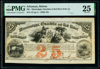 Helena, AR- Mississippi, Ouachita and Red River Railroad Company Stock Certificate $25 Oct. 4, 1851 PMG Very Fine 25...