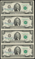 Francine I. Neff Courtesy Autographed Fr. 1935-K* $2 1976 Federal Reserve Star Notes. Uncut Sheet of Four. Choice About...