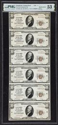 Stamford, CT - $10 1929 Ty. 1 Uncut Sheet The First-Stamford National Bank Ch. # 4 PMG About Uncirculated 53