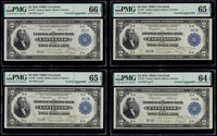 Cut Sheet of Four Courtesy Autographed Fr. 757 $2 1918 Federal Reserve Bank Notes PMG Graded